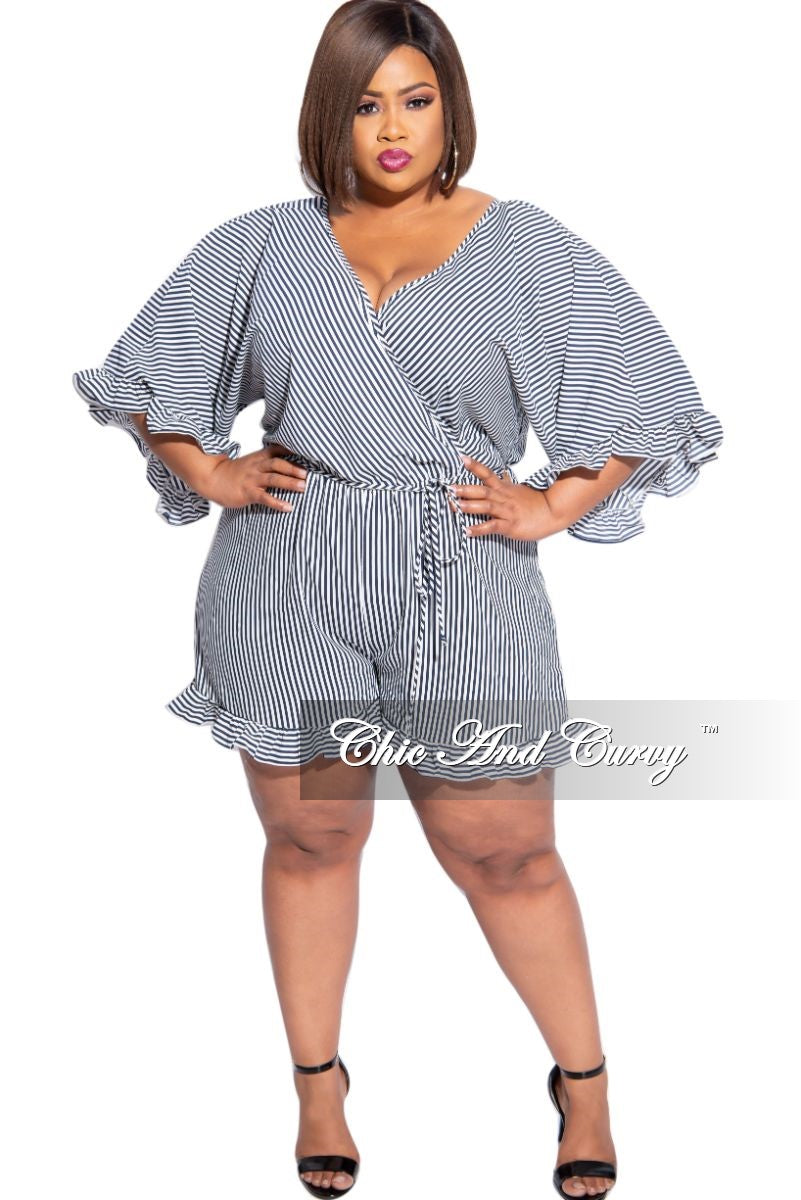 Final Sale Plus Size Faux Wrap Ruffle Romper in Navy and White Stripe Print