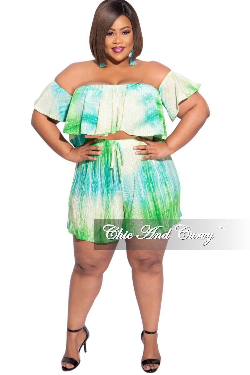Final Sale Plus Size 2-Piece Pleated Off The Shoulder Top and Shorts Set in Yellow & Green