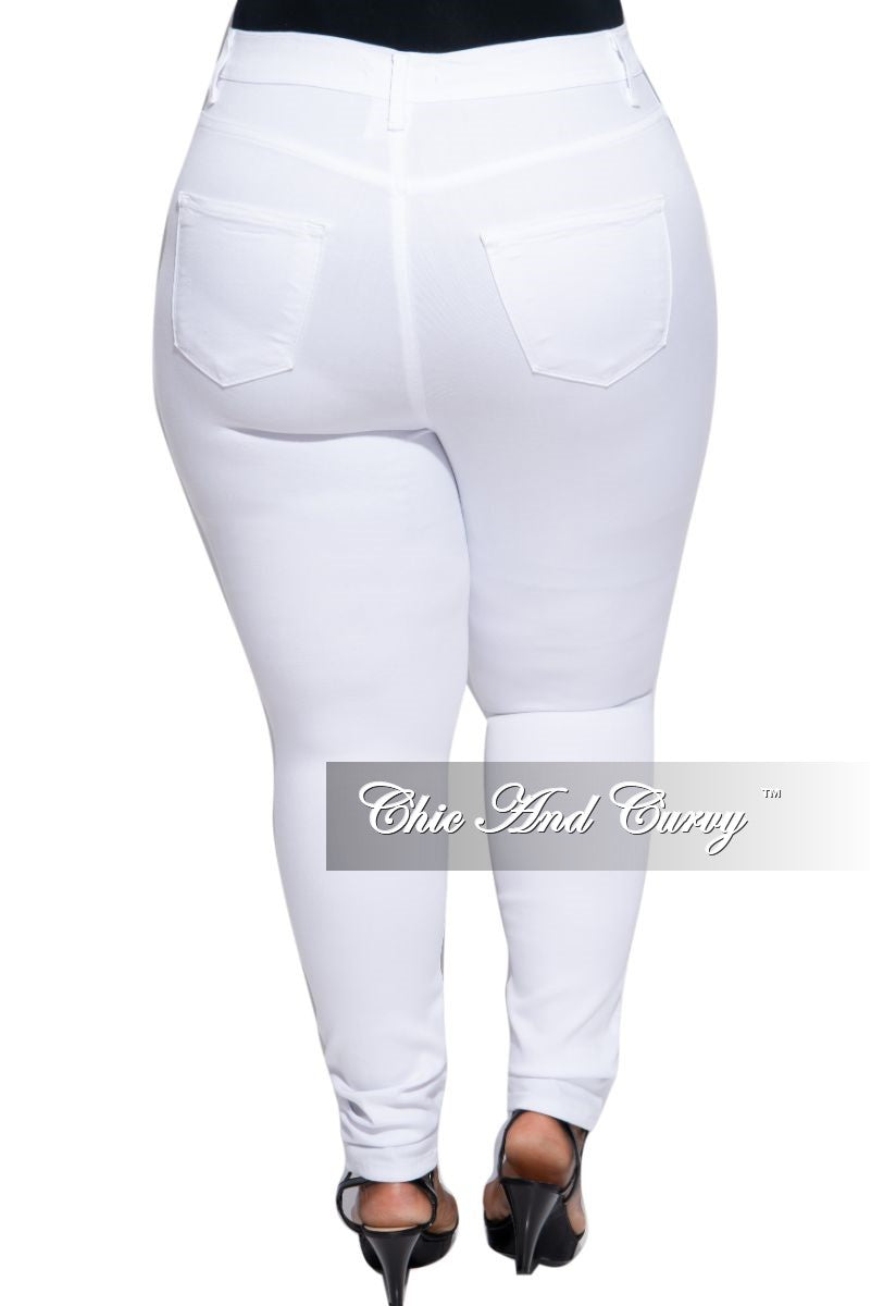 Final Sale Plus Size High Waist Jeans in White