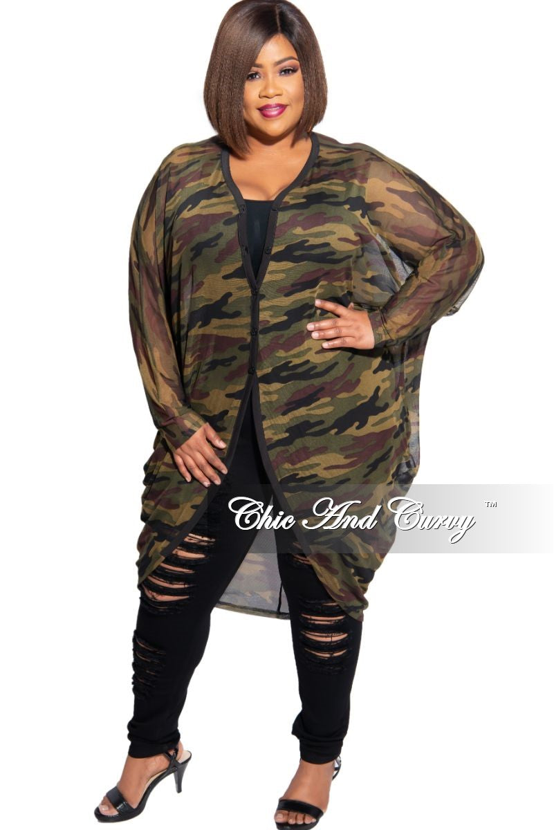 Final Sale Plus Size Sheer Mesh Cardigan in Camouflage