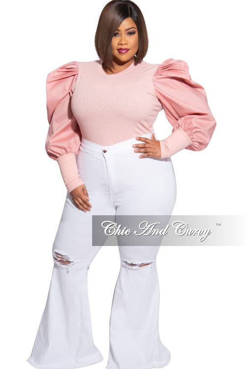 Final Sale Plus Size Wide Leg Distressed Knee Denim Jeans in White