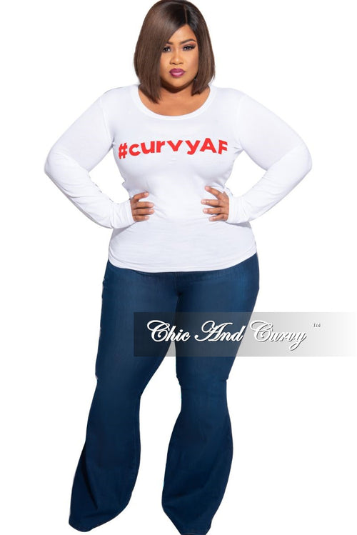 Final Sale Plus Size Long Sleeve Scoop Neck #curvyAF T-Shirt in White and Red