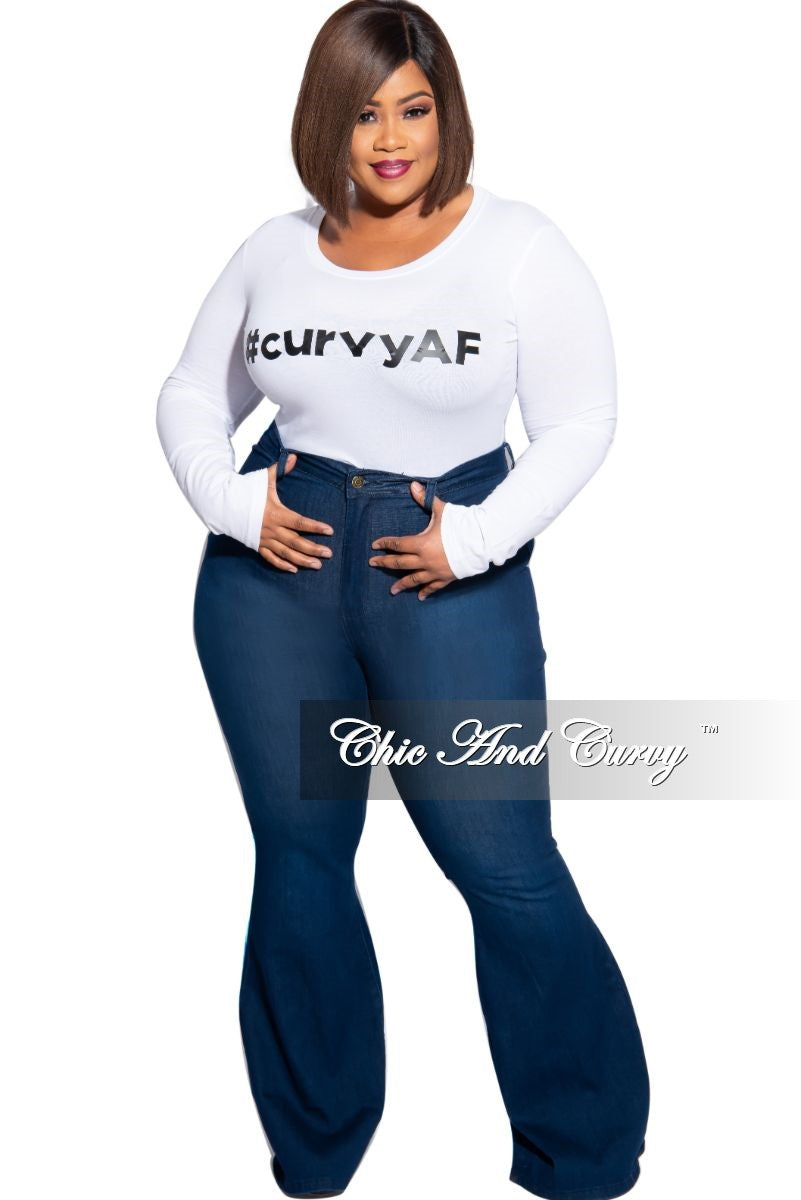 Final Sale Plus Size Long Sleeve Scoop Neck #curvyAF T-Shirt in White and Black