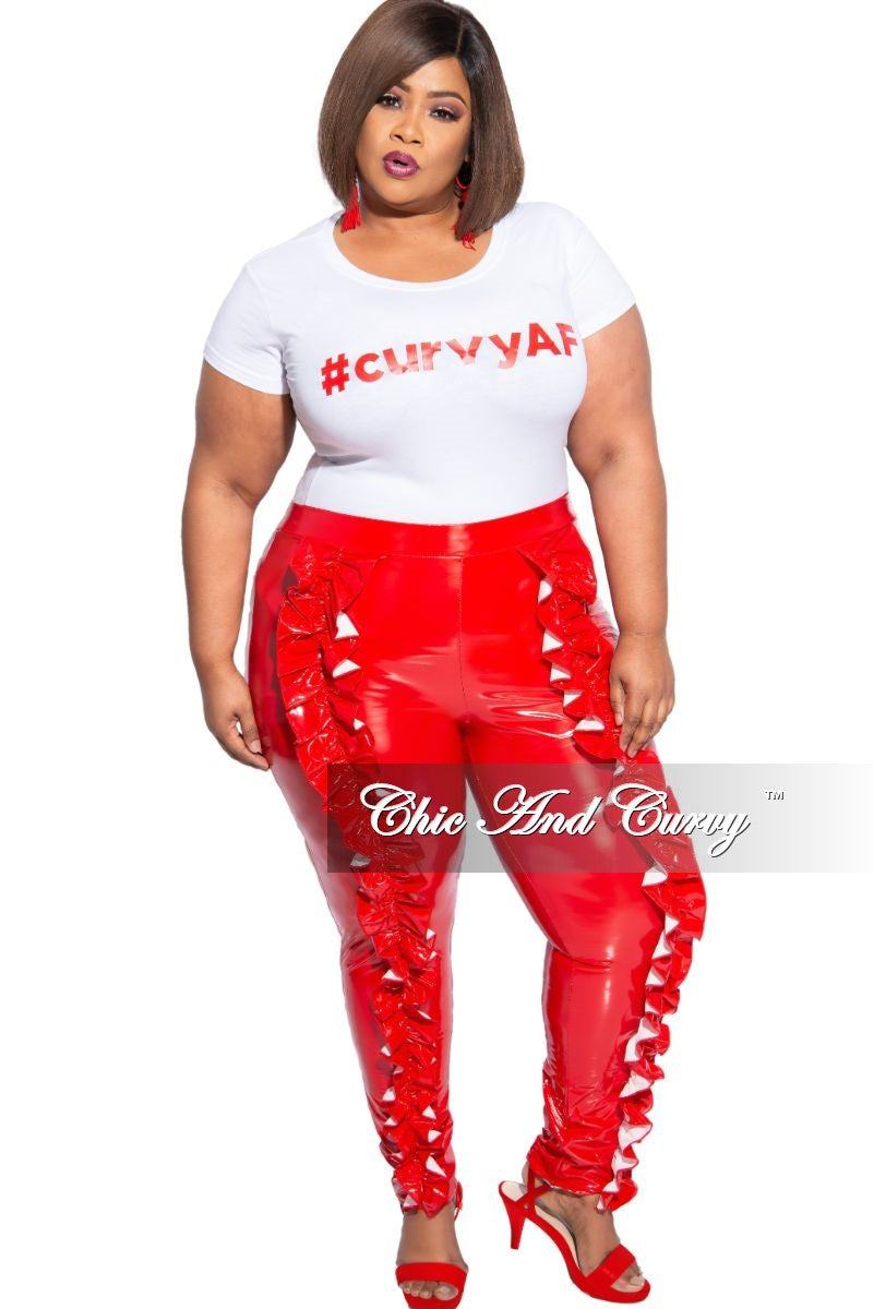 Final Sale Plus Size Patent Leather High Waist Front Ruffle Leggings in Red