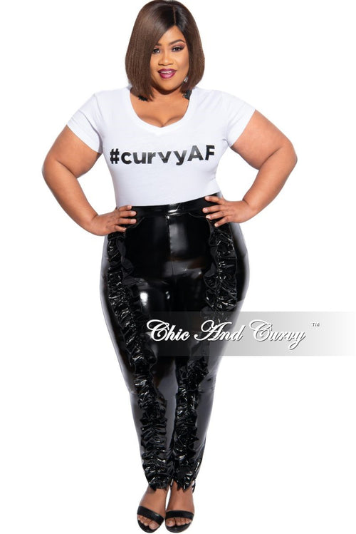 Final Sale Plus Size Patent Leather High Waist Front Ruffle Leggings in Black