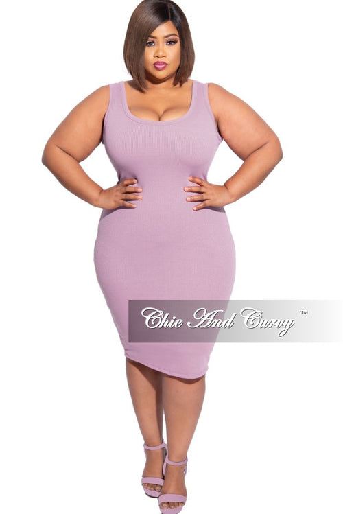 New Plus Size Ribbed Tank Dress in Lavender Purple