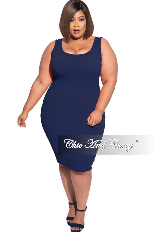 New Plus Size Ribbed Tank Dress in Navy