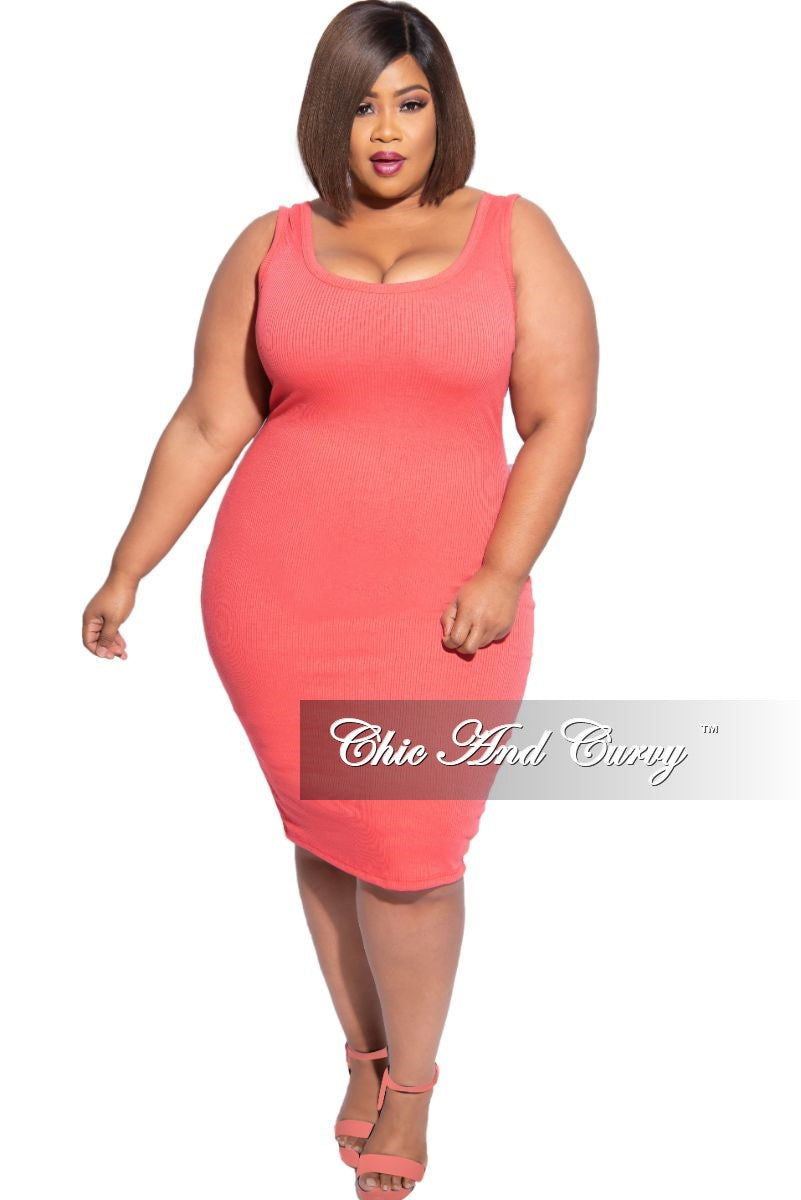 New Plus Size Ribbed Tank Dress in Coral