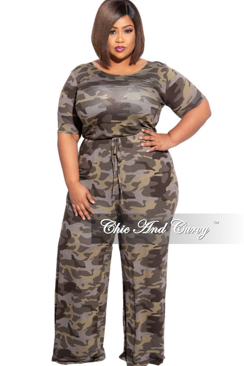 New Plus Size Tie Waist Pocket Jumpsuit in Camouflage
