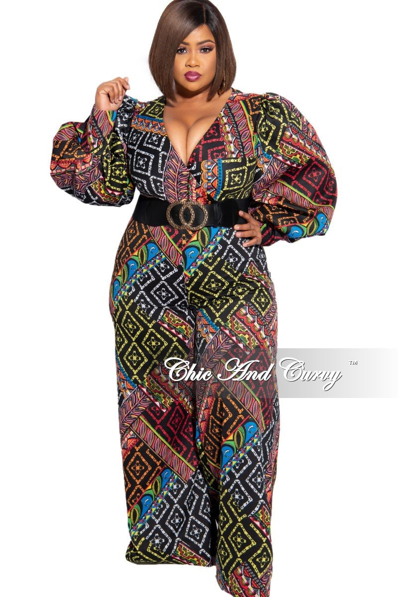 Final Sale Plus Size Faux Wrap Tie Jumpsuit in Multi-Color Design Print