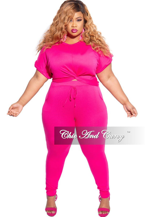 Final Sale Plus Size 2-Piece Twisted Bottom Top and Pants Set in Hot Pink