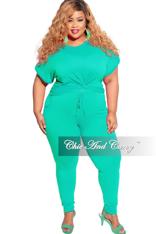 Final Sale Plus Size Twisted Bottom Top and Pants Set in Aqua Green