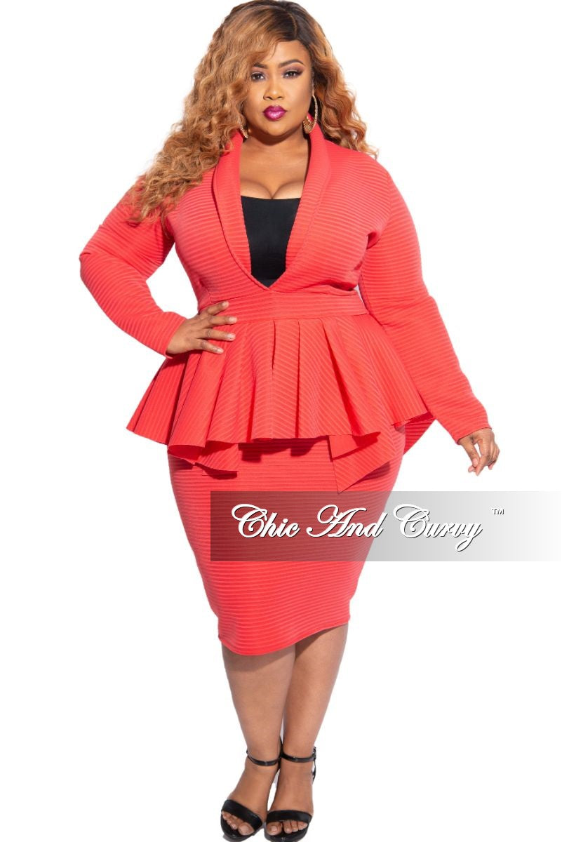 New Plus Size Deep V Neck Peplum BodyCon Dress in Pink Striped Jacquard Fabric