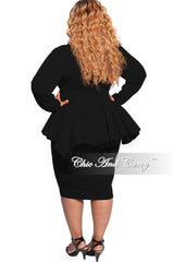 New Plus Size Deep V Neck Peplum BodyCon Dress in Black Striped Jacquard Fabric