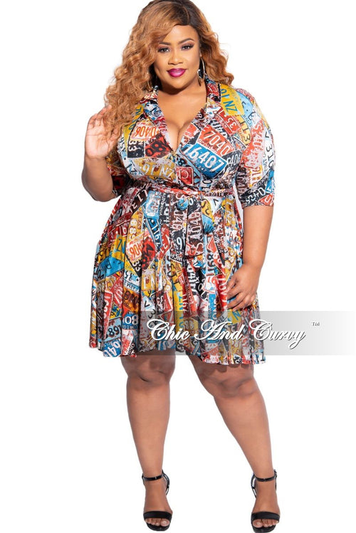 New Plus Size Faux Wrap Tie Dress in License Plate Print