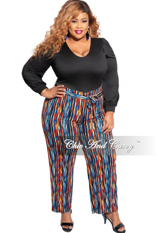 New Plus Size Tie Waist Pants in Multicolor Design Print