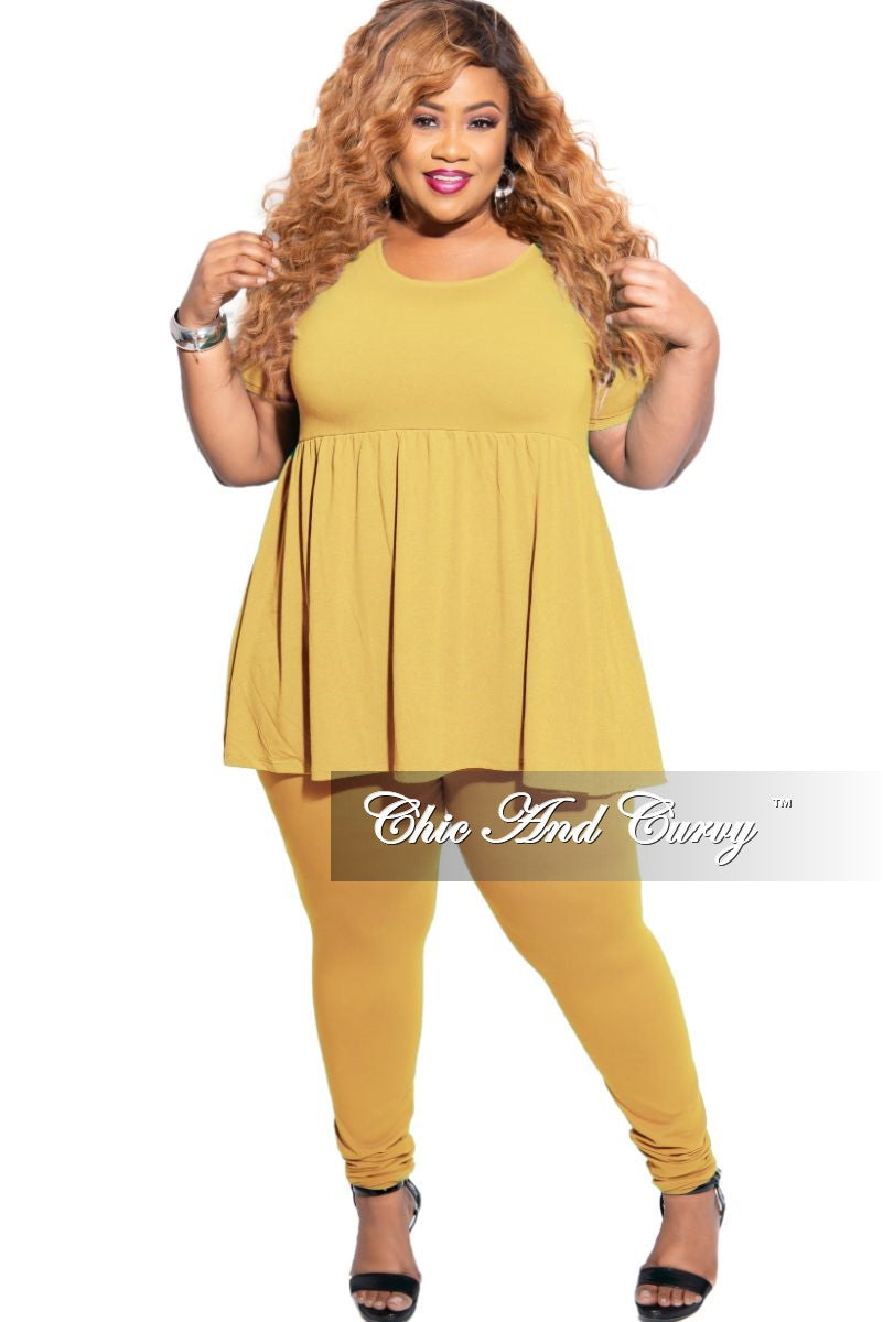 New Plus Size 2-Piece Short Sleeve Baby Doll Top and Legging Set in Light Mustard