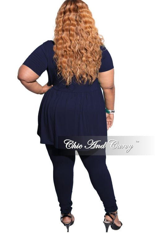 New Plus Size 2-Piece Short Sleeve Baby Doll Top and Legging Set in Navy