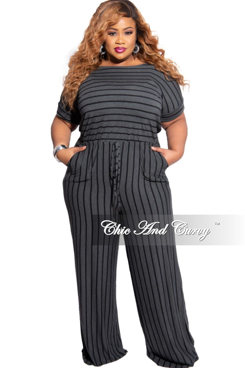 New Plus Size Tie Pocket Jumpsuit in Grey with Black Stripes