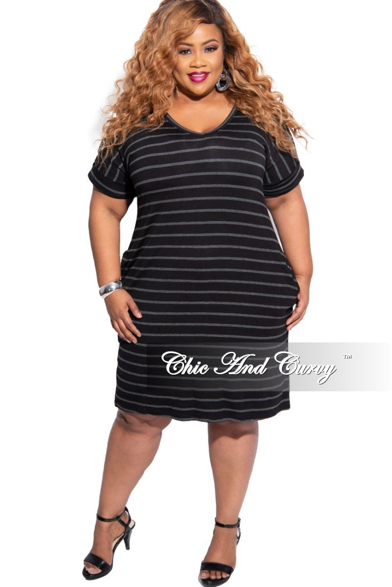 New Plus Size Rolled Sleeve V-Neck Dress in Black with Grey Stripes