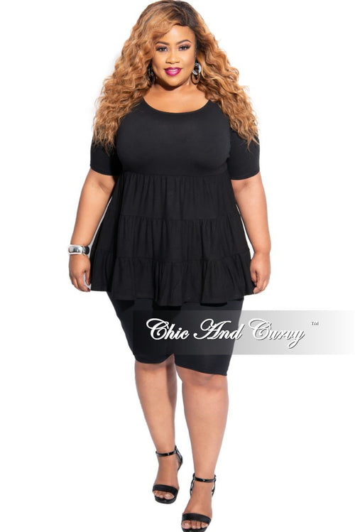 New Plus Size 2-Piece 3-Tiered Baby Doll Top and Short Set in Black