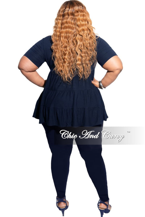 New Plus Size 2-Piece Short Sleeve 3 Tiered Baby Doll Top and Leggings Set in Navy
