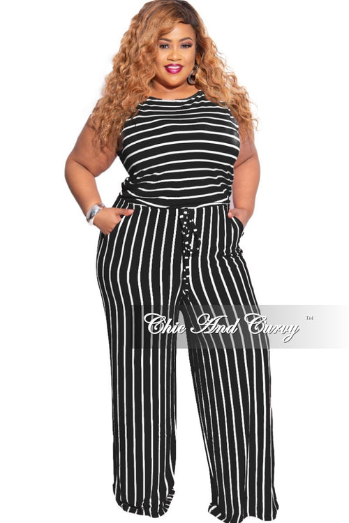 New Plus Size Sleeveless Pocket Tie Jumpsuit in Black with Ivory Stripes