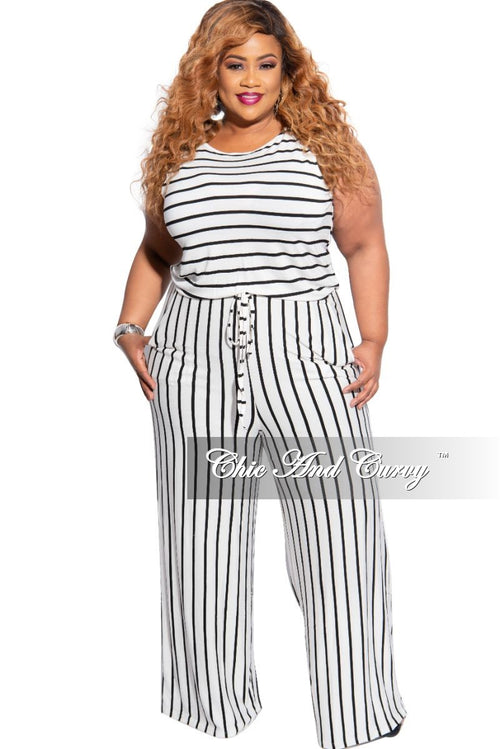 Final Sale Plus Size Sleeveless Pocket Tie Jumpsuit in Ivory with Black Stripes