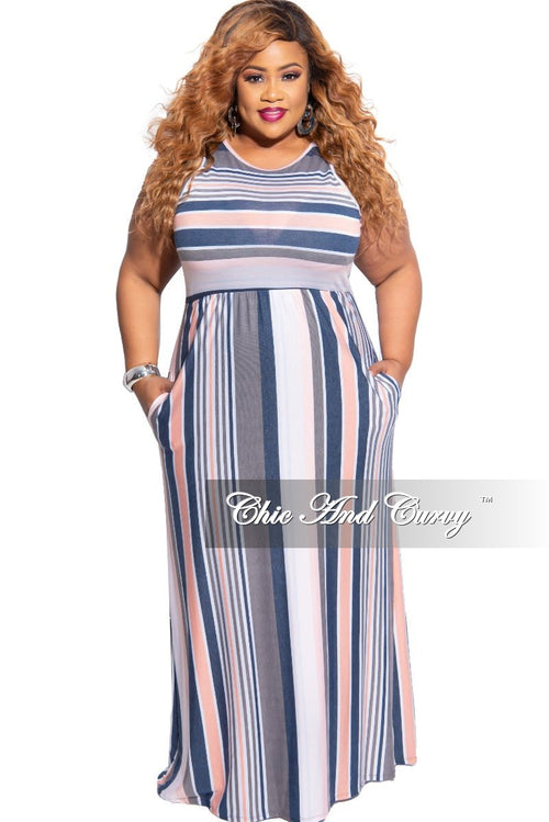 Final Sale Plus Size Tank Pocket Maxi in Multicolor Stripe