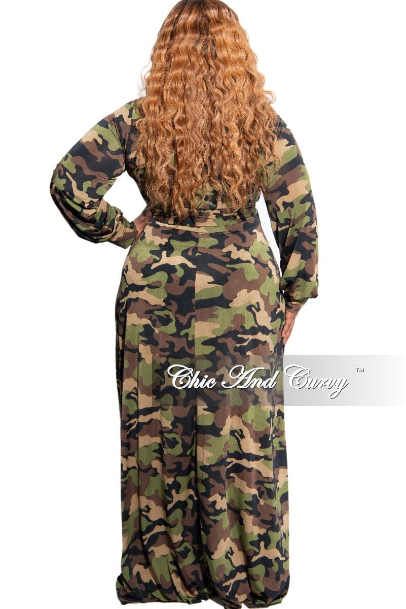 New Plus Size Long Wrap Dress with Tie in Camouflage