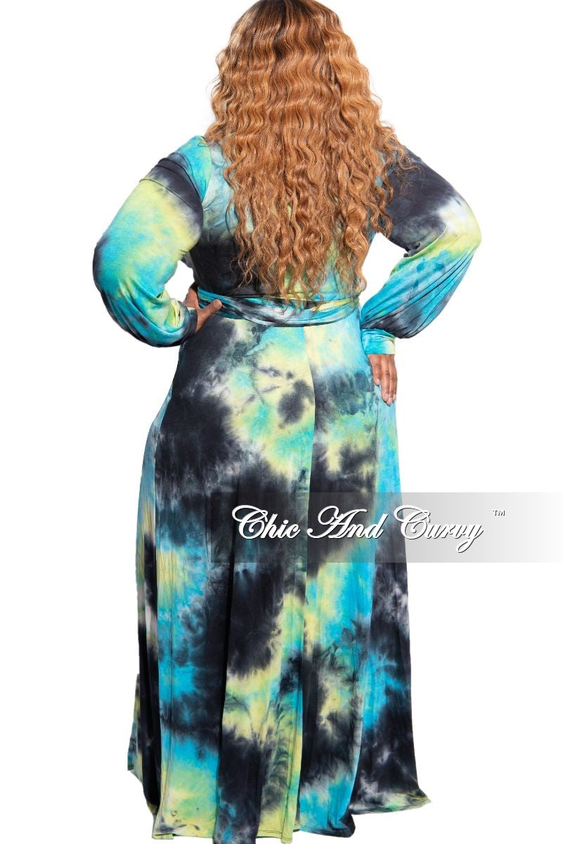 New Plus Size Long Wrap Dress with Tie in Aqua, Black & White Tie Dye