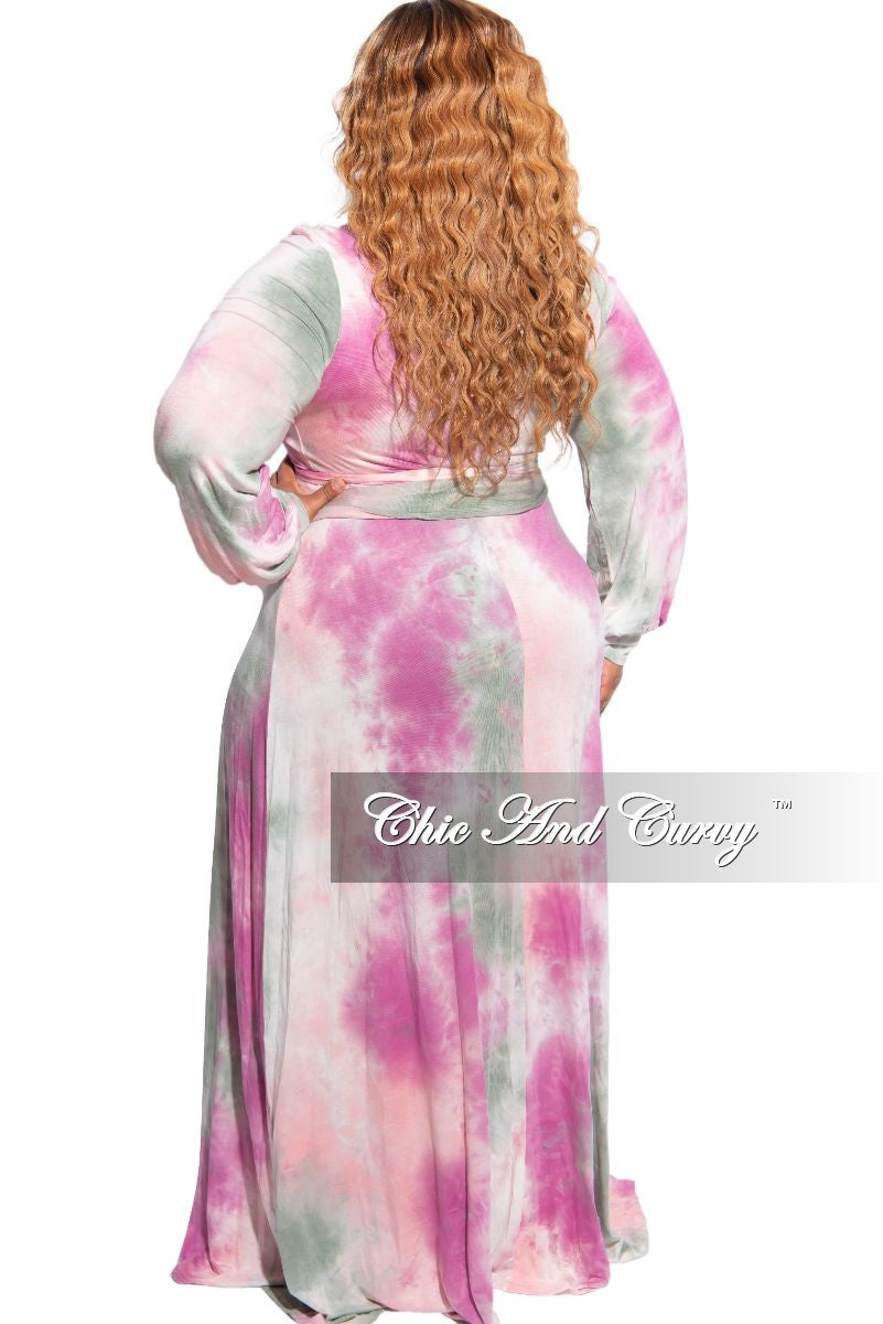 New Plus Size Long Wrap Dress with Tie in Pink, Grey & White Tie Dye