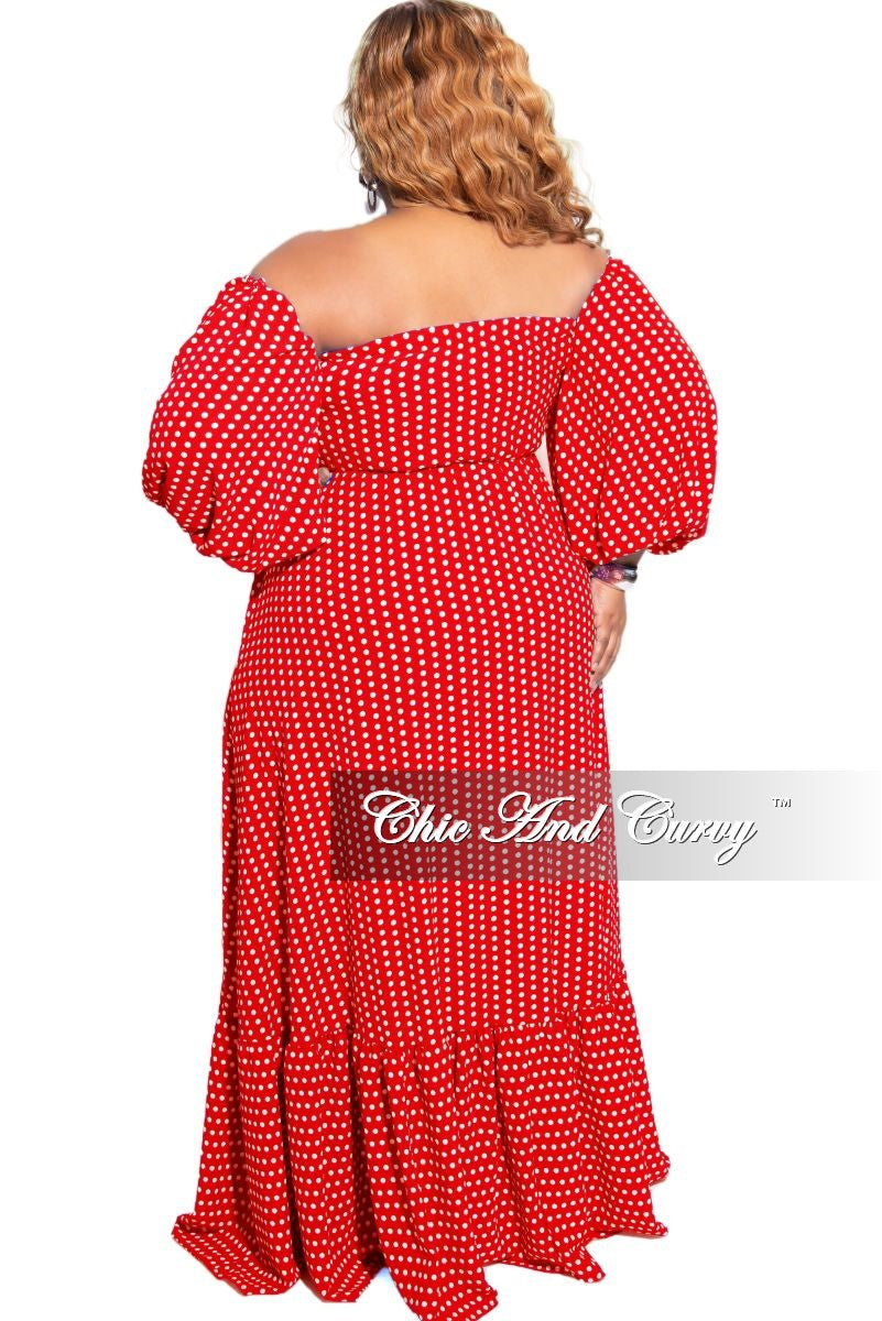 New Plus Size Off the Shoulder Maxi in Red &  White Polka Dot