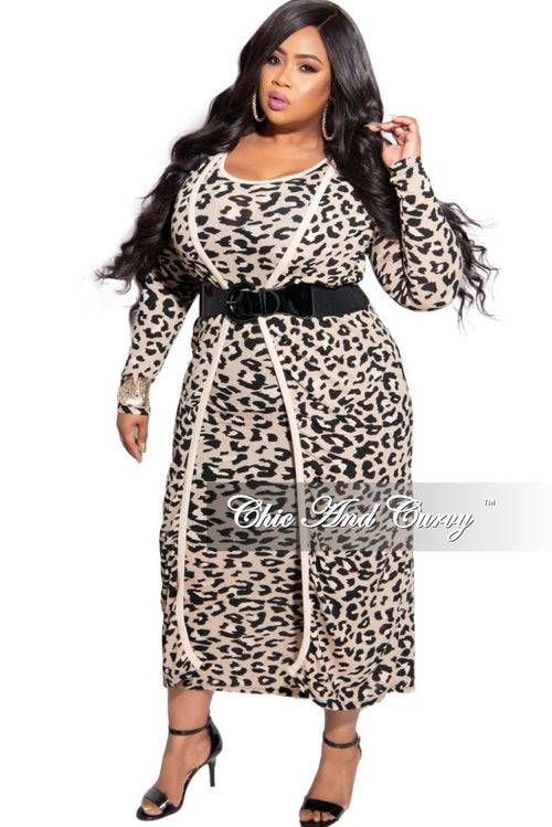 Final Sale Plus Size 2-Piece Duster and Sleeveless Midi BodyCon Dress in Nude Animal Print (Seasonal Item)