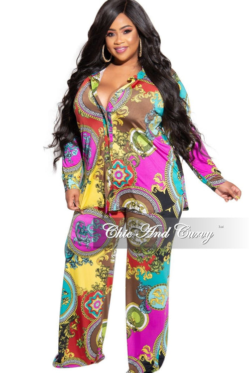 New Plus Size 2-Piece Collared Button Top and Pants Set in Multi Color Design Print