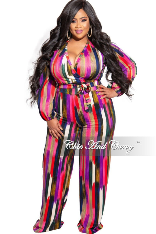 New Plus Size 2-Piece Faux Wrap Bow Tie Top and Pant Set in Brushstroke Multi Color Print