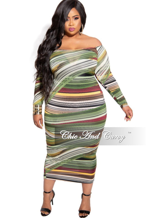 New Plus Size Off the Shoulder Midi BodyCon Dress in Green Mustard Burgundy and Brown Strip Print