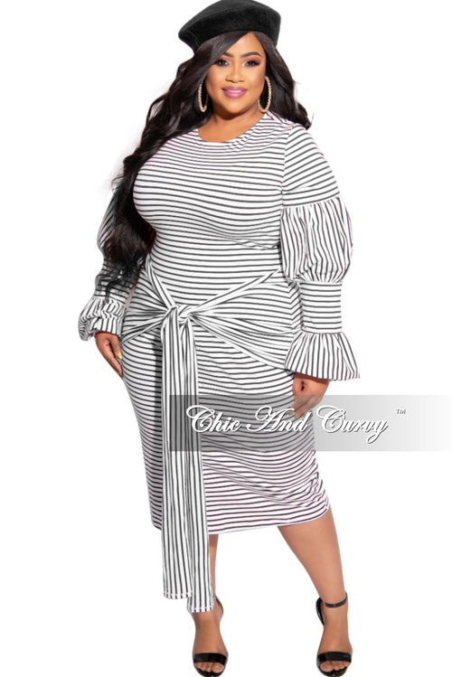 Final Sale Plus Size Puffy Sleeve BodyCon Tie Dress in White and Black Stripe Print