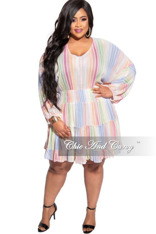 Final Sale Plus Size Baby-Doll Dress in Rainbow Multi Stripe