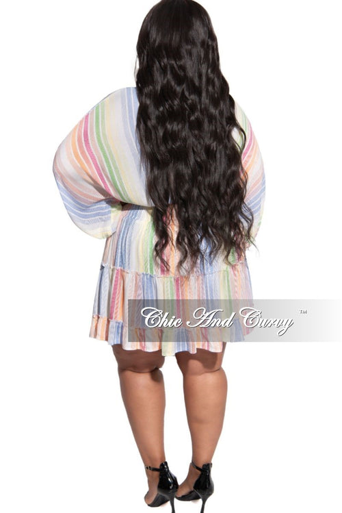 Final Sale Plus Size Stripe Baby-Doll Dress in Rainbow Multi Color