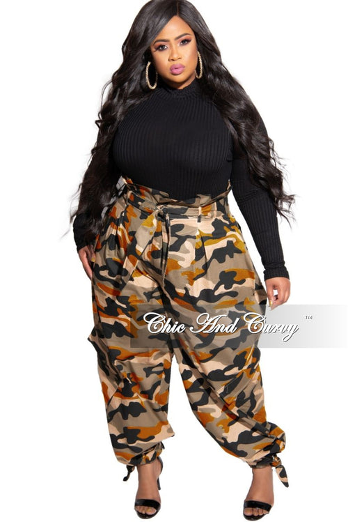 New Plus Size Paperbag Jogger Pants with Attached Tie in Orange Camouflage Wash Print