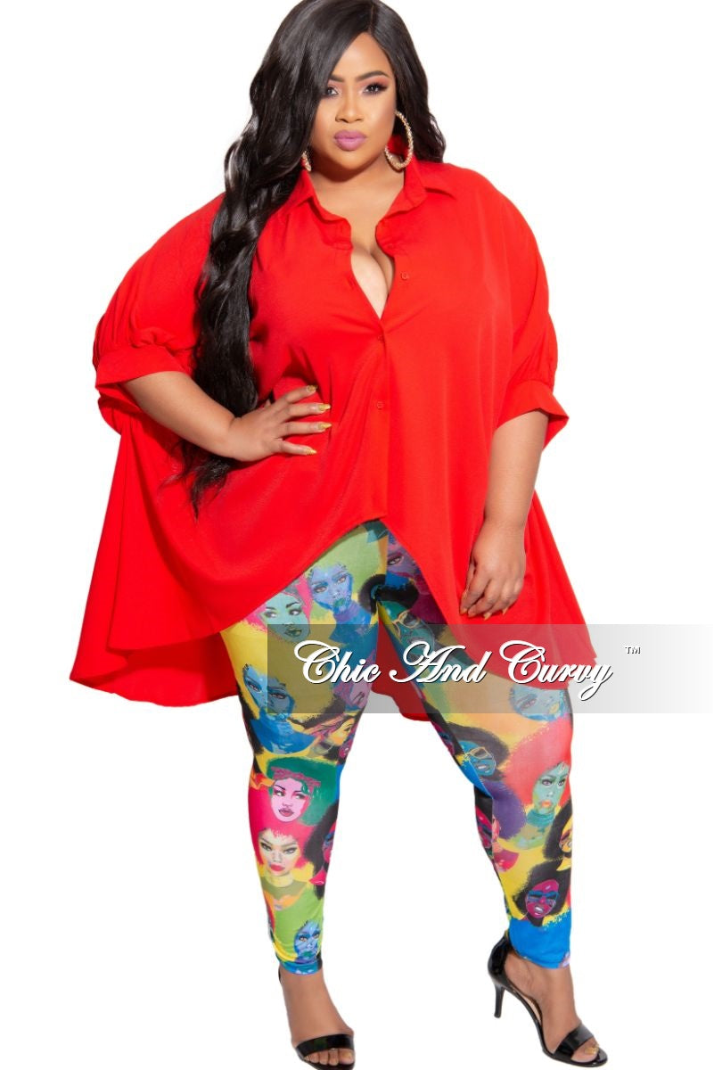 Final Sale Plus Size Afrocentric Leggings in Multi Color Print