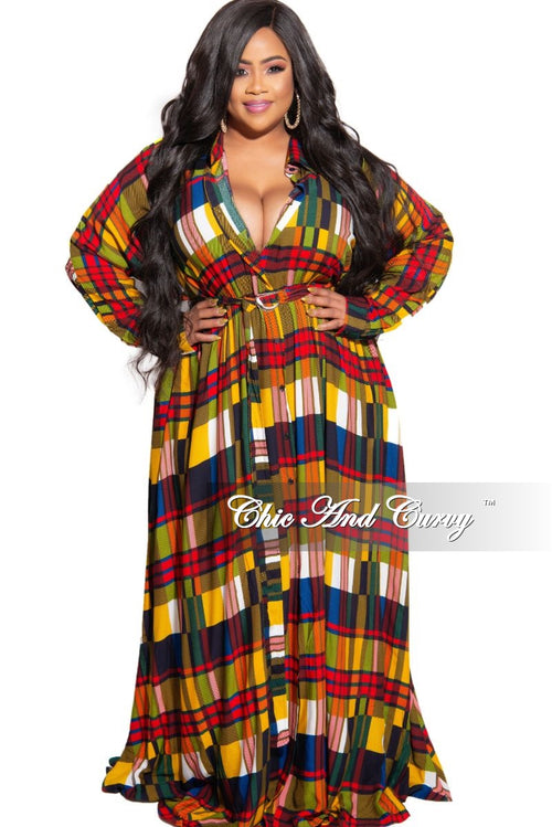 Final Sale Plus Size Collared Button Maxi with Attached Belt in Multi Color Plaid Print