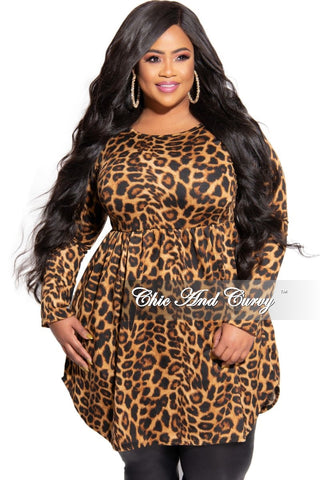 Final Sale Plus Size Chiffon Faux Wrap Ruffle High-Low Dress with Tie in Animal Print