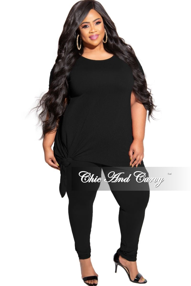 New Plus Size 2-Piece Side Slit Tie Top and Legging Set in Black