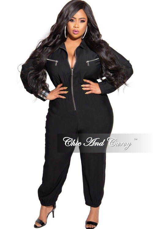 New Plus Size Collared Zip-Up Jogger Jumpsuit in Black