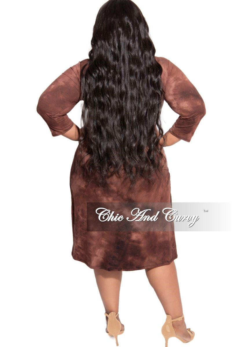 New Plus Size Faux Wrap Dress with Attached Tie in Brown Brick Tie Dye Print