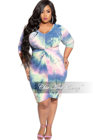 Final Sale Plus Size Off the Shoulder Peplum Tie BodyCon Dress in Royal Blue Design Print