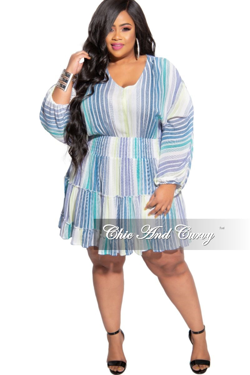 Final Sale Plus Size Baby-Doll Dress in Blue Multi Stripe