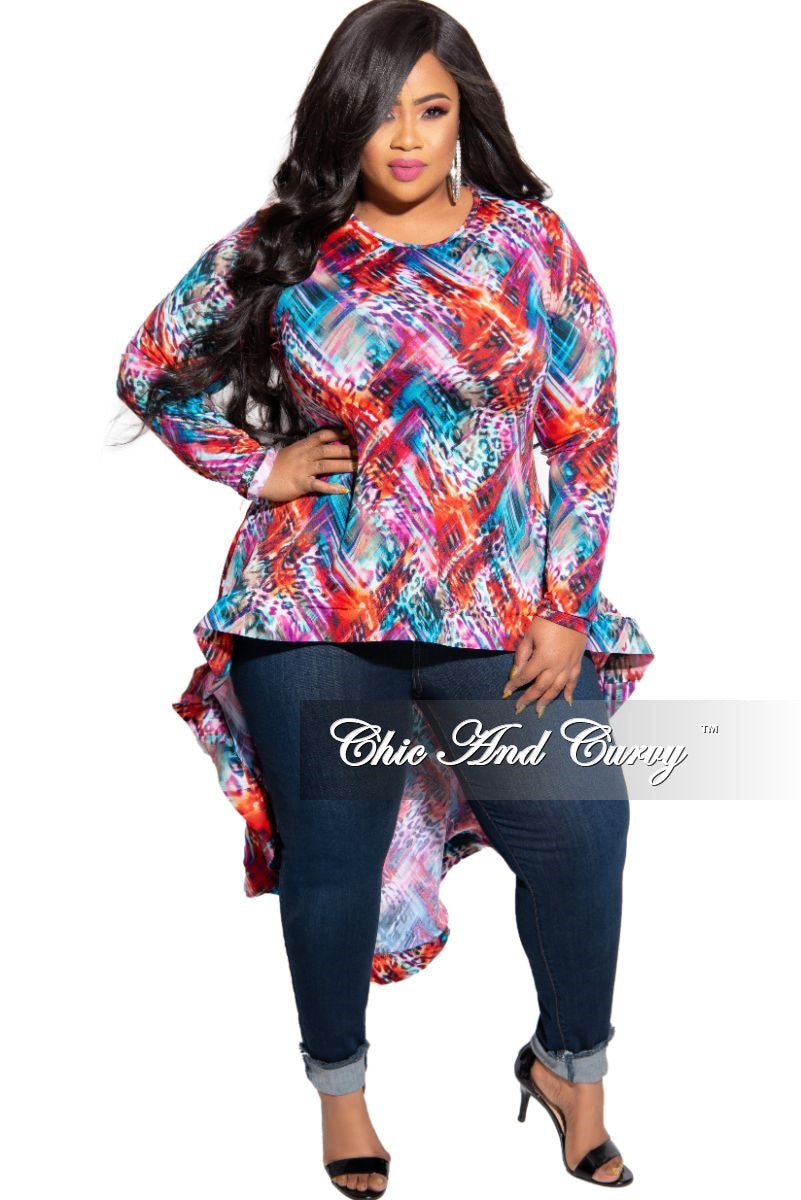 New Plus Size High-Low Peplum Top in Multi Color Print